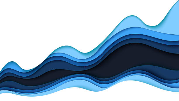 ilustrações de stock, clip art, desenhos animados e ícones de abstract bue wave paper cut layer background template - curva forma