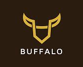 Abstract Buffalo Symbol Template Design Vector, Emblem, Design Concept, Creative Symbol, Icon