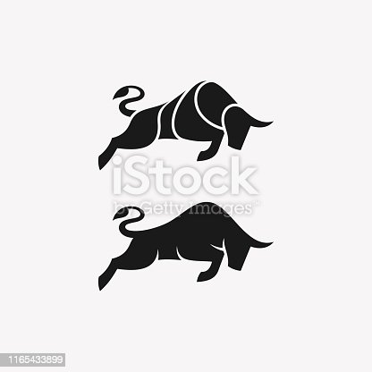 Abstract Bull Black Color illustration vector template. Suitable for Creative Industry, Multimedia, entertainment, Educations, Shop, and any related business