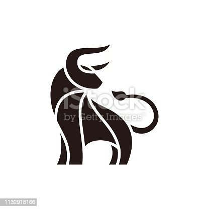 Abstract Bull Black Design illustration vector template.  Suitable for Creative Industry, Multimedia, entertainment, Educations, Shop, and any related business