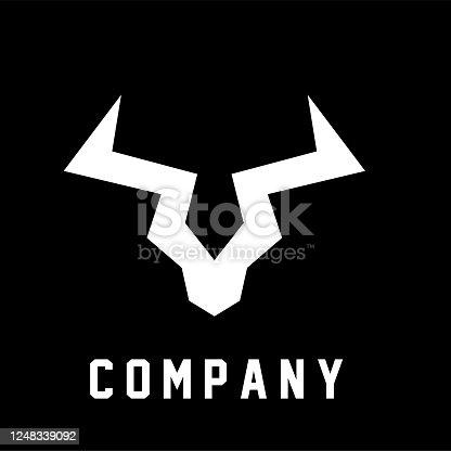 Abstract bull head simple logo icon design
