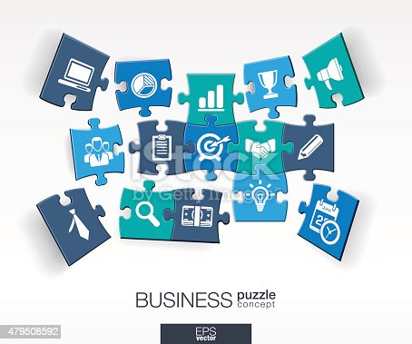 istock Abstract business background, connected color puzzles, integrated flat icons 479508592
