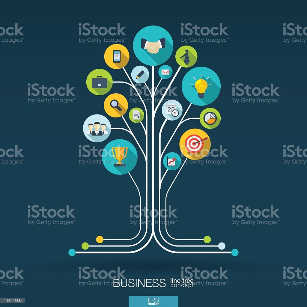 Abstract business background with connected circles, integrated flat icons. vector art illustration