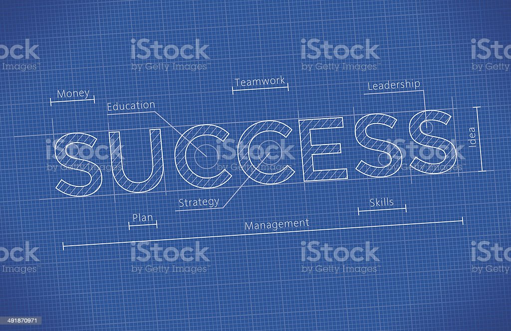 Abstract Business Blueprint with Success word vector art illustration