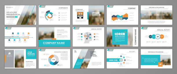 abstract business brochure set - brochure templates stock illustrations, clip art, cartoons, & icons