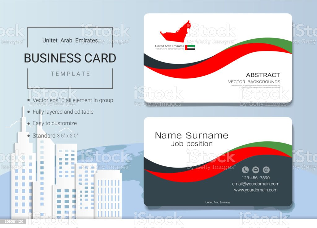 Uae Abstract Business Card Or Name Card Template Emirates Banner For - Name banner template