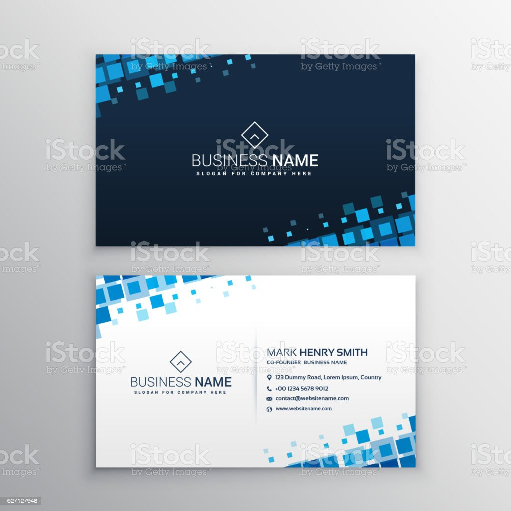 abstract business card with blue mosaic shapes vector art illustration