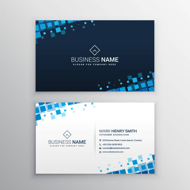 Royalty free business card template clip art vector images abstract business card with blue mosaic shapes vector art illustration wajeb Gallery