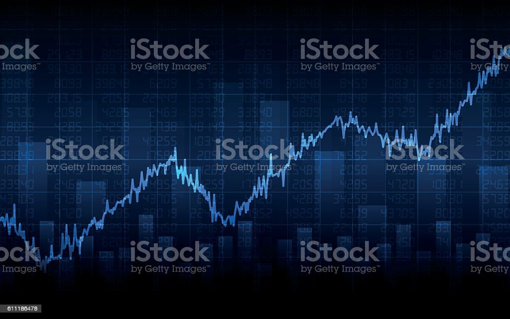 Abstract Business chart on dark blue background (vector) vector art illustration
