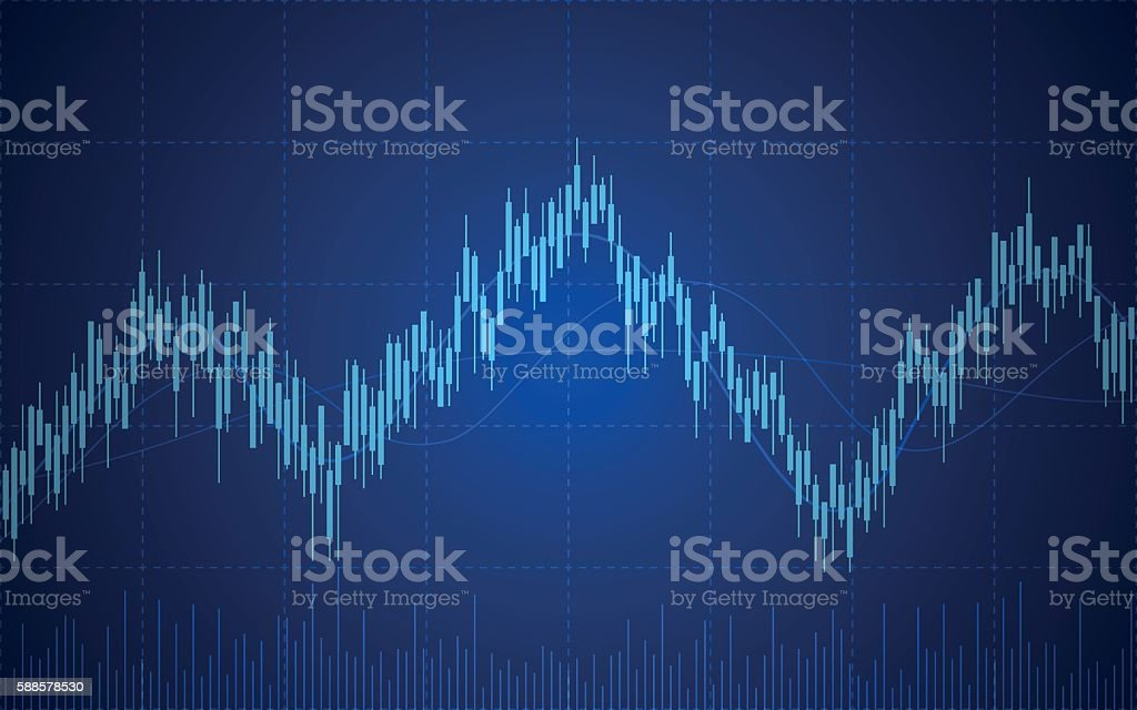 abstract Business chart with line graph and Candlesticks vector art illustration