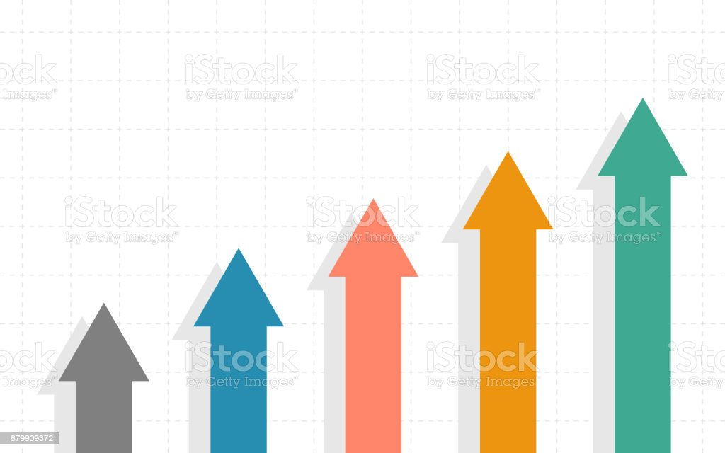 Abstract Business chart with uptrend line graph and arrows of stock market in flat icon design on white color background vector art illustration