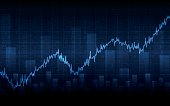 Abstract Business chart with uptrend line graph on blue background