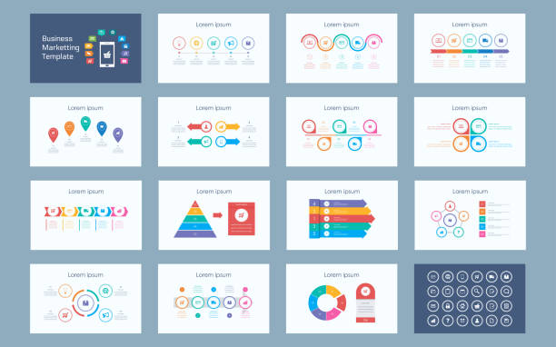 abstract business marketting infographics presentation slide set with icon in white color background - timeline infographics stock illustrations, clip art, cartoons, & icons