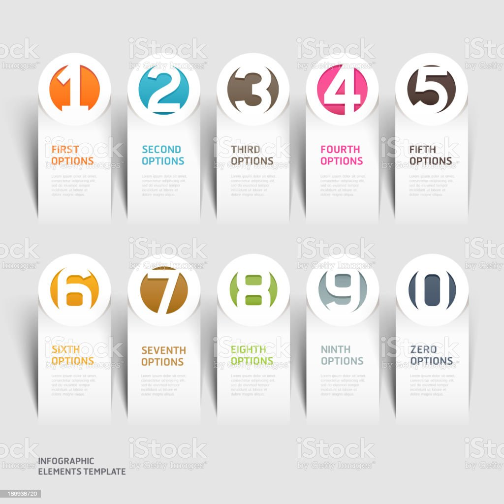 Abstract business paper cut infographics number. royalty-free stock vector art