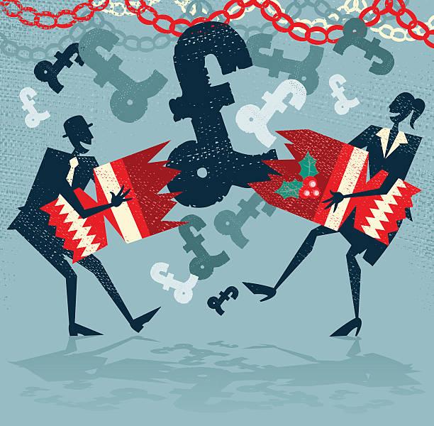 Abstract Business People get a Surprise UK Christmas Bonus. vector art illustration