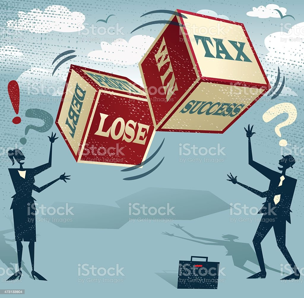 Abstract Business people with Financial Dice of Fortune. vector art illustration