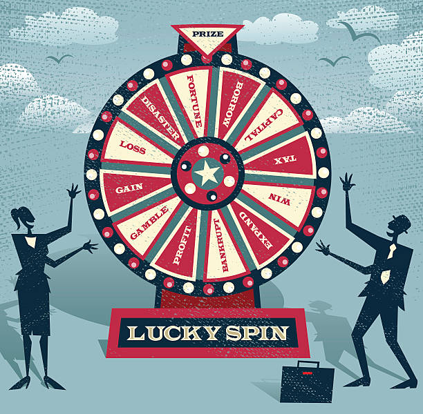 Abstract Business people with Financial Wheel of Fortune. vector art illustration