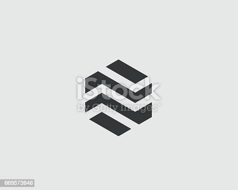 Abstract business premium icon design template. Hexagon real estate finance universal vector icon icon.