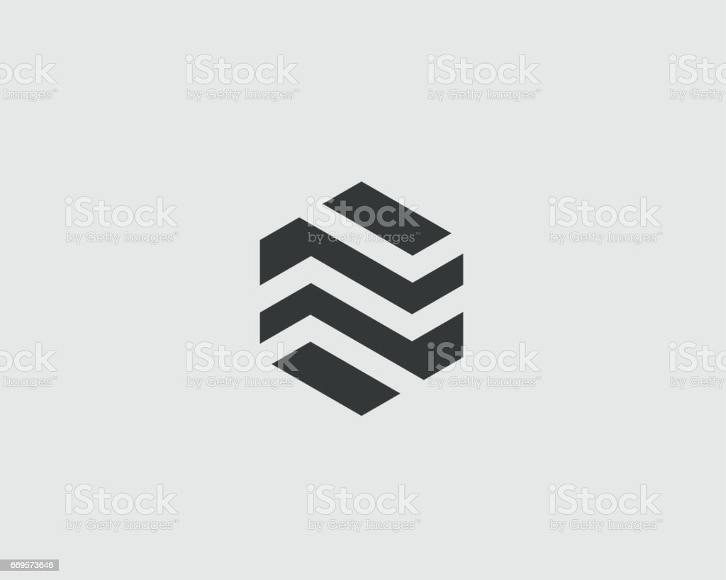 Abstract business premium logo design template. Hexagon real estate finance universal vector logo icon vector art illustration