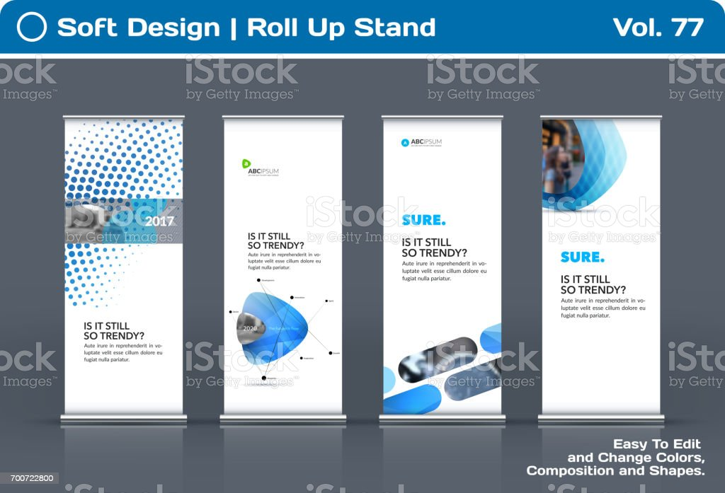 Abstract business vector set of modern roll Up Banner stand design template vector art illustration
