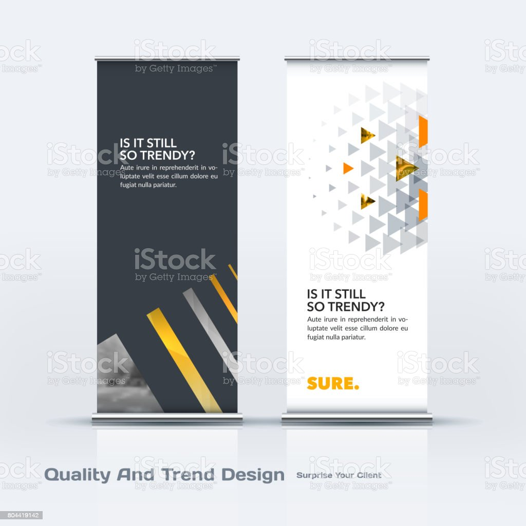 Abstract business vector set of modern roll Up Banner stand design template with colourful lines vector art illustration