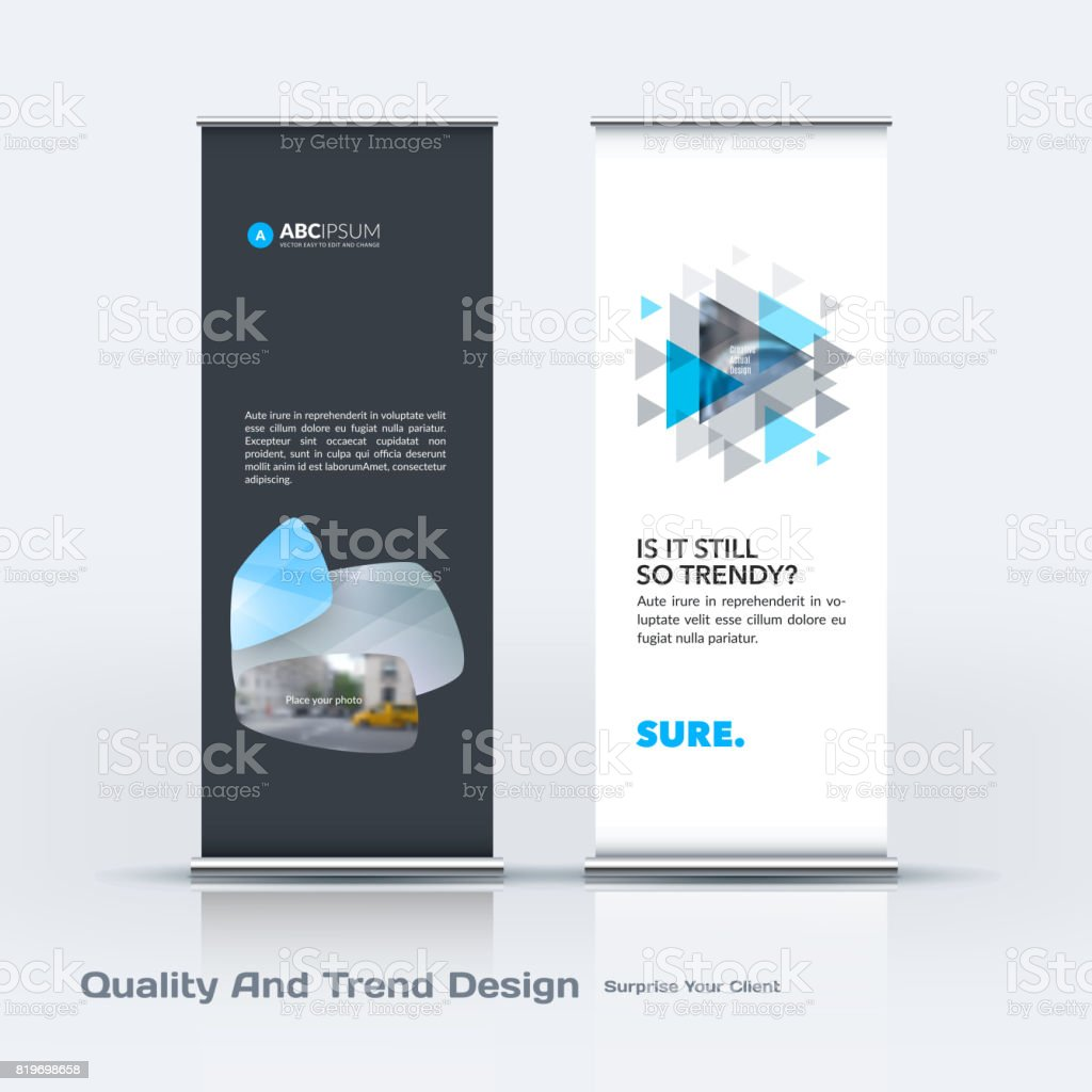 Abstract business vector set of modern roll Up Banner stand design template with colourful soft, rounded shapes vector art illustration