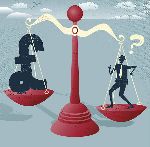 Abstract Businessman and Pound Sign balance on giant scales. vector art illustration
