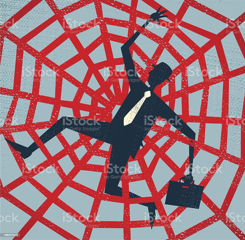 Abstract Businessman caught in a Spiders Web. vector art illustration