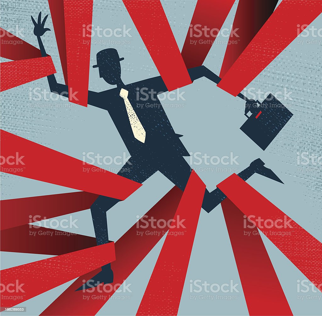 Abstract Businessman caught in Red Tape. vector art illustration