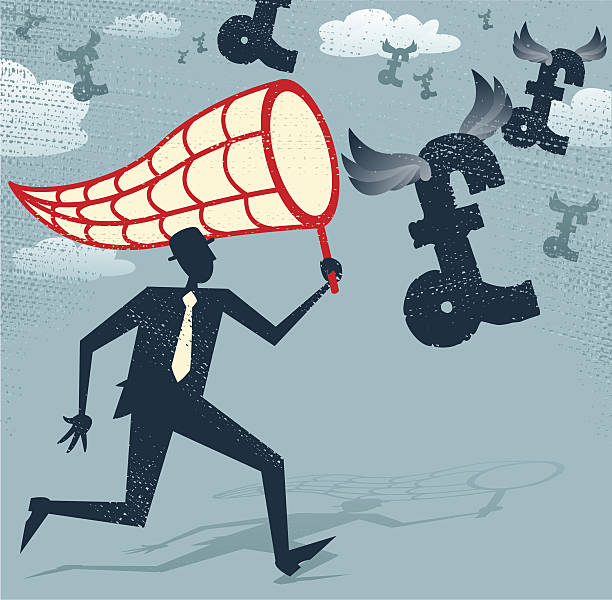 Abstract Businessman chasing and netting Pounds. vector art illustration