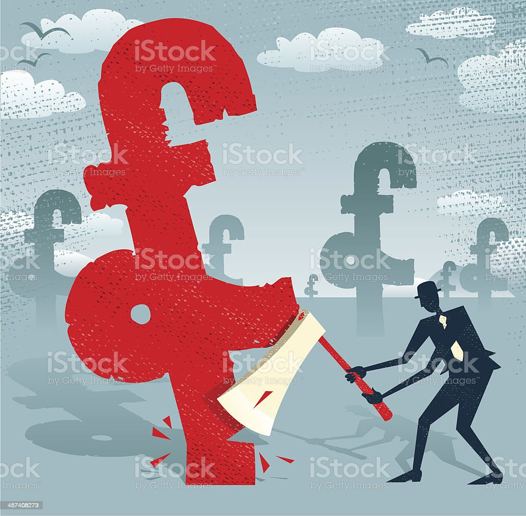 Abstract Businessman cuts down the Pound. royalty-free stock vector art