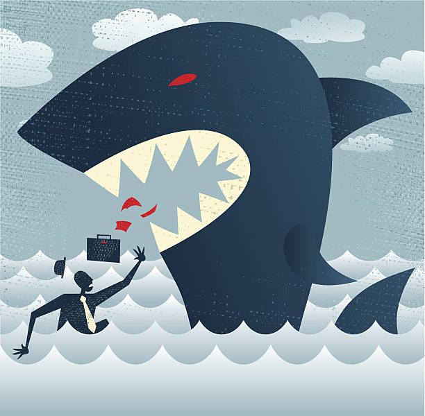 Abstract Businessman falls Prey to a Huge Shark. vector art illustration