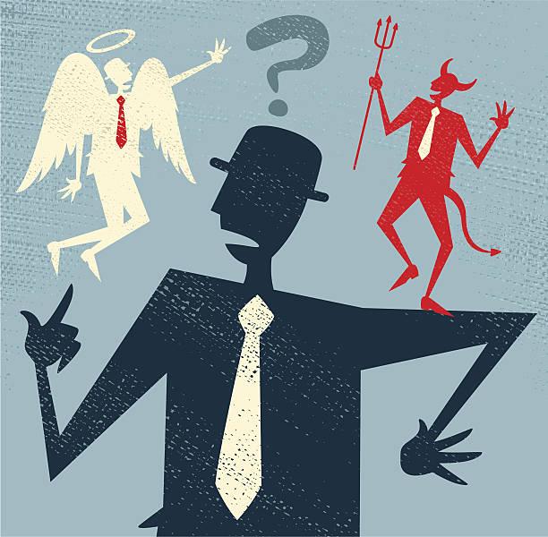 Abstract Businessman has a Moral Dilemma. vector art illustration