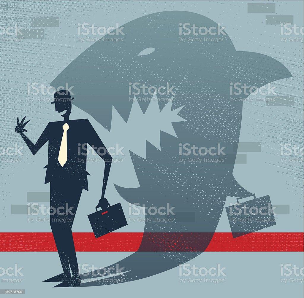 Resumen ejecutivo es un disfraz de tiburón - ilustración de arte vectorial