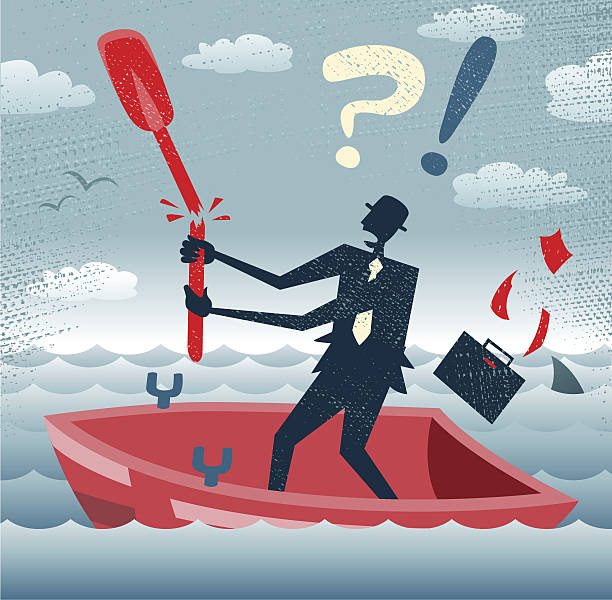 Abstract Businessman is without a paddle. vector art illustration