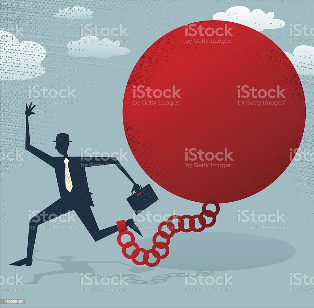 Abstract Businessman locked in a Ball and Chain. royalty-free stock vector art
