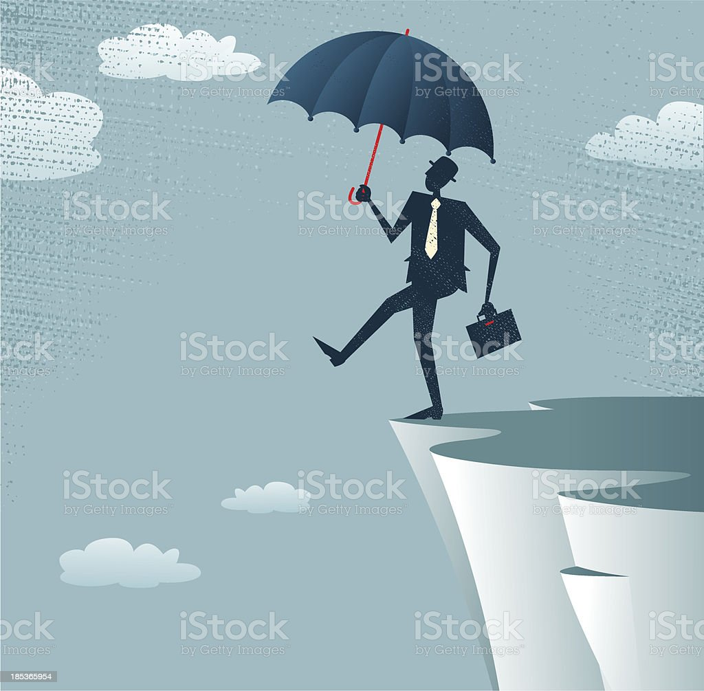 Abstract Businessman walks off a cliff. - Royalty-free Abstract stock vector