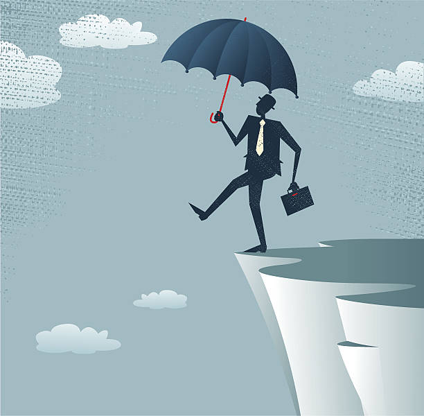 Abstract Businessman walks off a cliff. vector art illustration