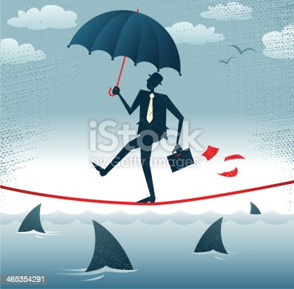 Great illustration of Retro styled Businessman walking carefully across a very high tightrope with his umbrella for added protection.