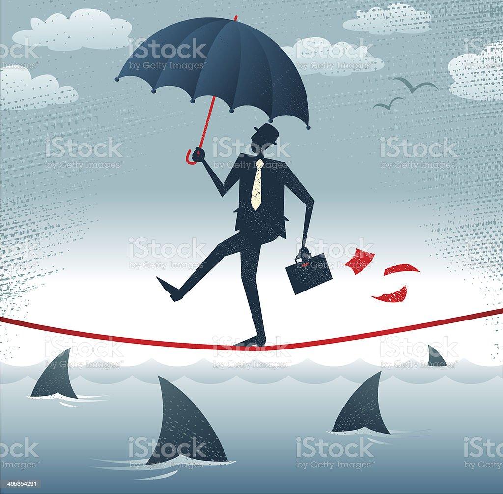 Abstract Businessman walks Tightrope with Confidence.向量藝術插圖