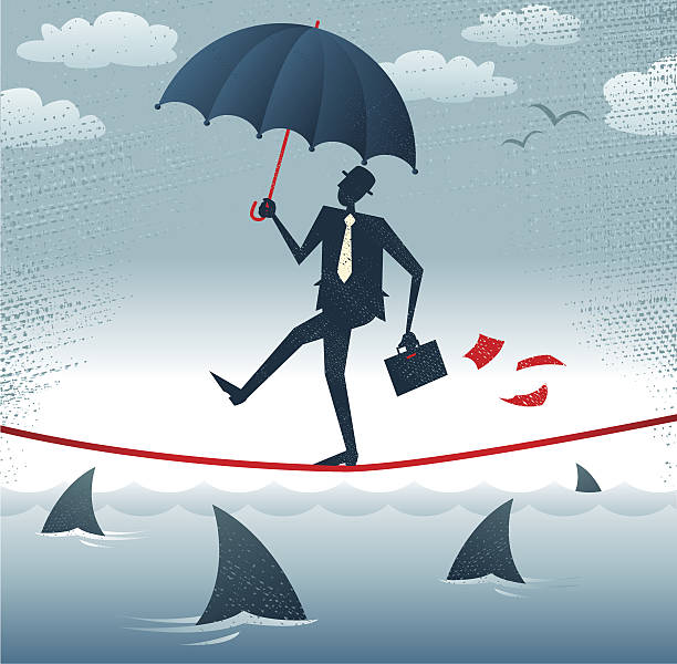 Abstract Businessman walks Tightrope with Confidence. vector art illustration