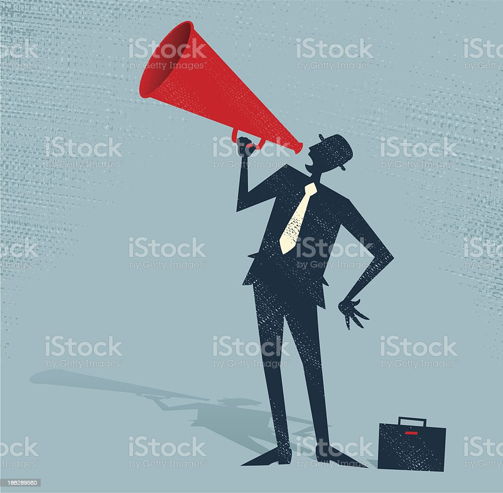 Abstract Businessman with Megaphone. vector art illustration