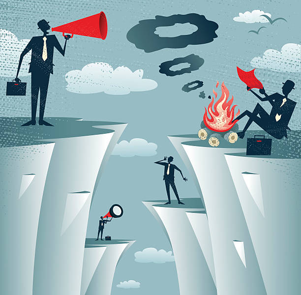 abstract businessmen cliff top miscommunication. - communication problems stock illustrations, clip art, cartoons, & icons