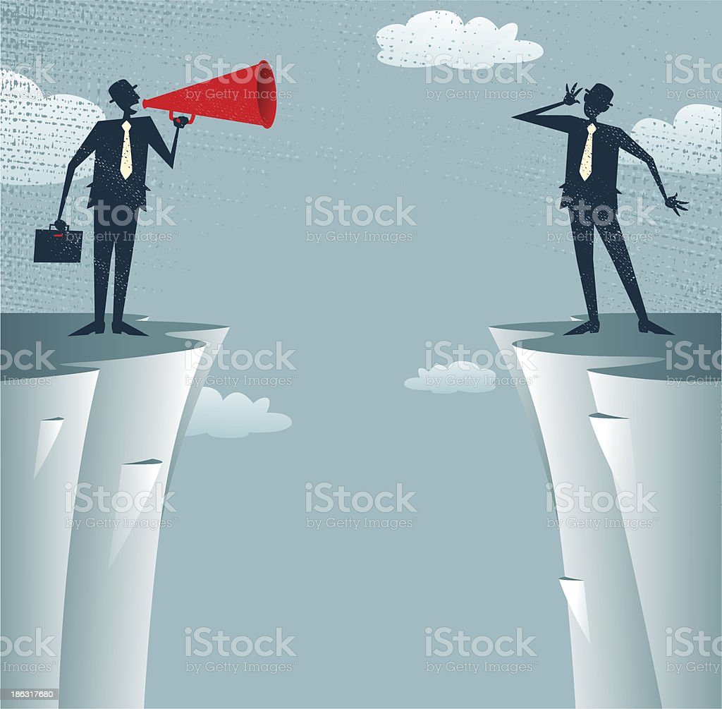Abstract Businessmen communicating from distance. royalty-free stock vector art