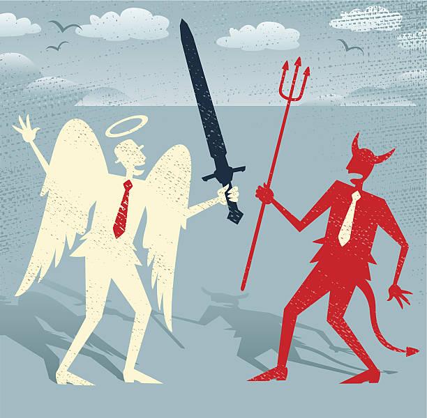 Abstract Businessmen Good fights against Evil. vector art illustration