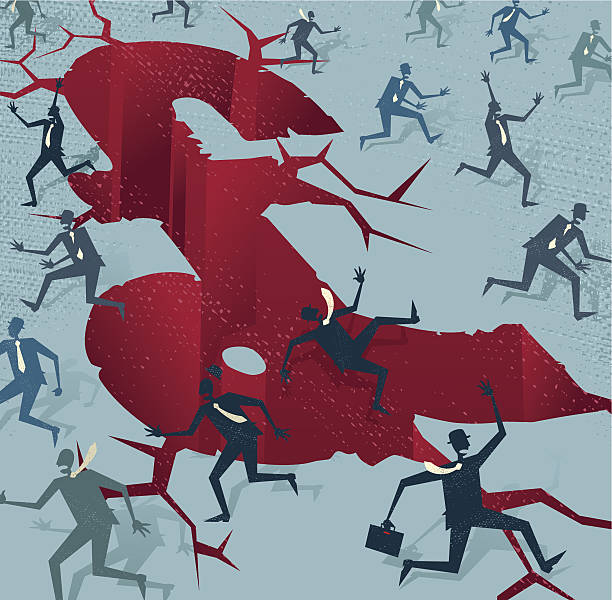 Abstract Businessmen run from a UK Financial Disaster vector art illustration