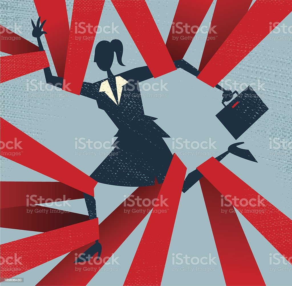 Abstract Businesswoman caught in Red Tape. vector art illustration