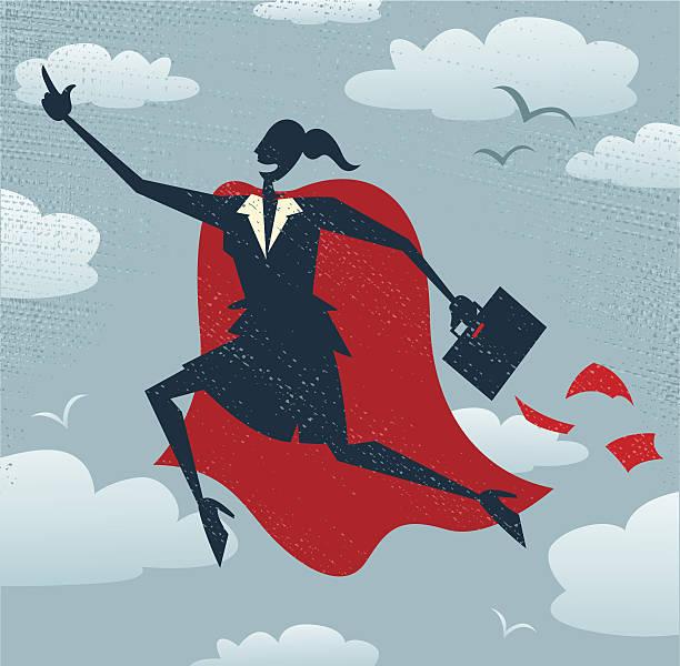 Abstract Businesswoman is a Superhero. vector art illustration