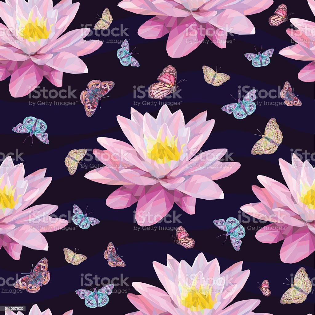Abstract butterflies and water lily flowers stock vector art more abstract butterflies and water lily flowers royalty free abstract butterflies and water lily flowers stock izmirmasajfo