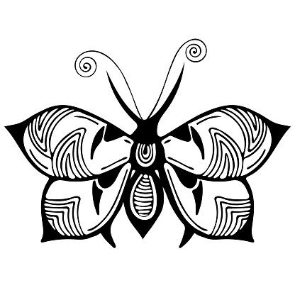 Soyut Kelebek Siyah Ve Beyaz Cizim Anahat Susleme Tekstil Baski